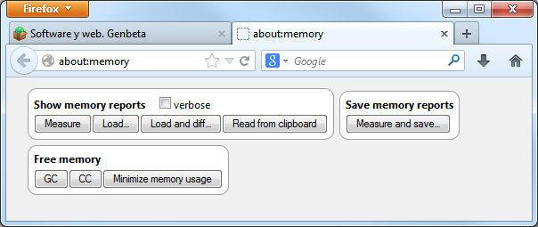 Firefox 23, mejoras en about:memory