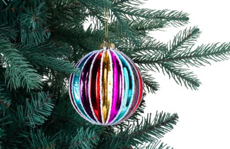 Bola De Cristal Con Rayas Multicolor Navidad El Corte Ingles