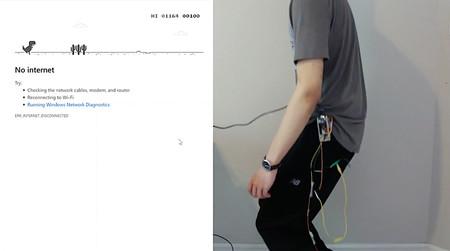 Hackeó el juego del dinosaurio de Google Chrome para controlarlo con sus propios movimientos y nos escribió las instrucciones