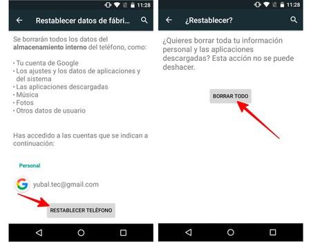 Restablecer Móvil Android