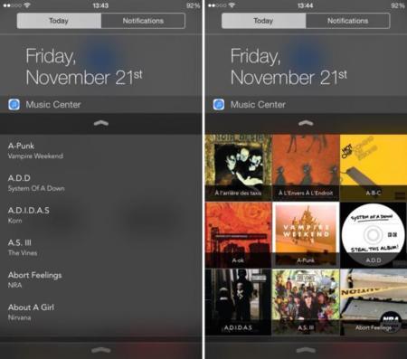 Music Center, un widget de iOS para acceder fácil a toda nuestra música