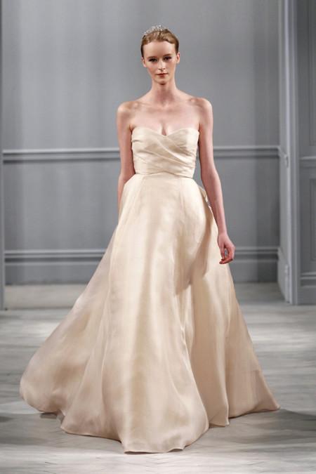 Monique Lhuillier champagne vestido novia