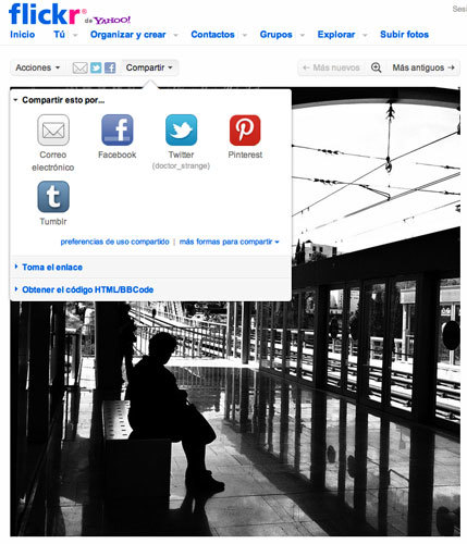 Botón Pinterest en Flickr