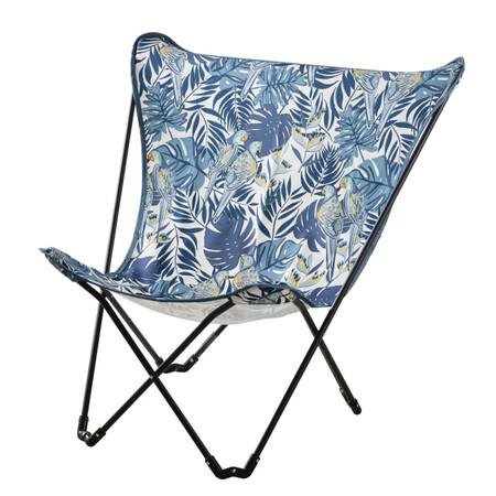 Silla3n Mariposa De Jarda N Plegable De Metal Negro Y Tela Azul Con Estampado
