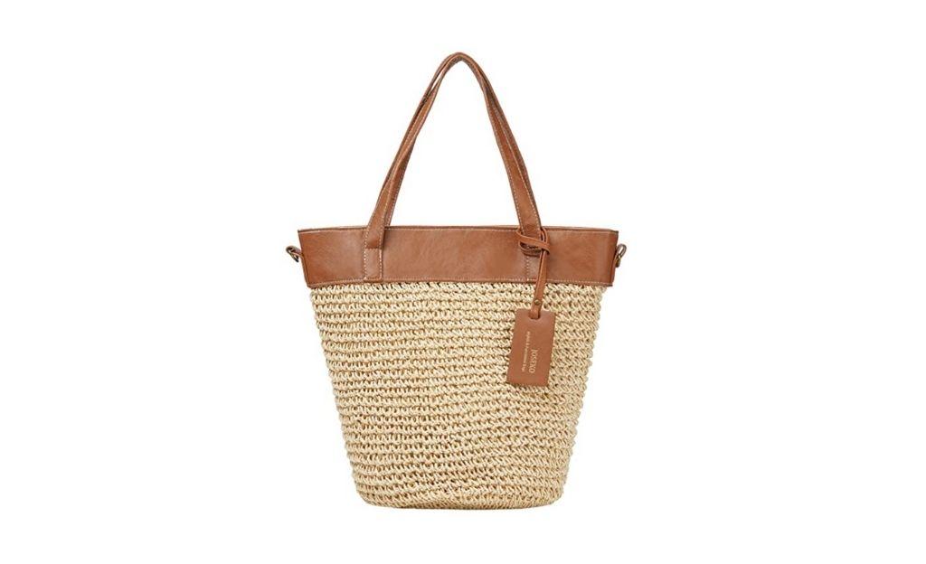 JOSEKO Bolso de playa de paja, bolso de hombro, bolso de verano para mujer, compras (blanco)