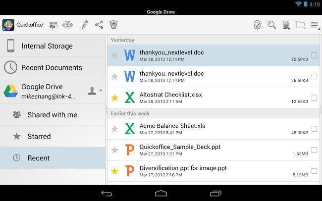 QuickOffice para Google Apps for Business
