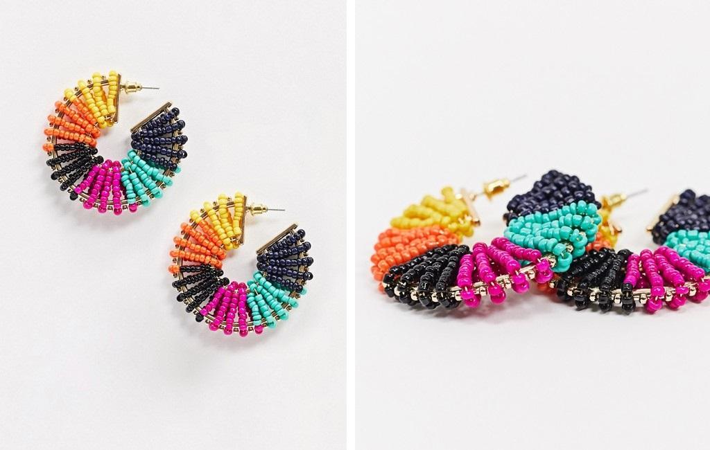 Pendientes de aro con cuentas de colores de Aldo