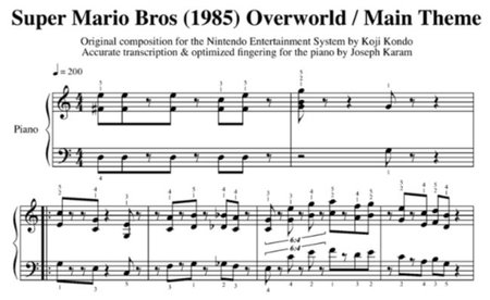 Partituras de 'Super Mario Bros.' interpretadas para piano