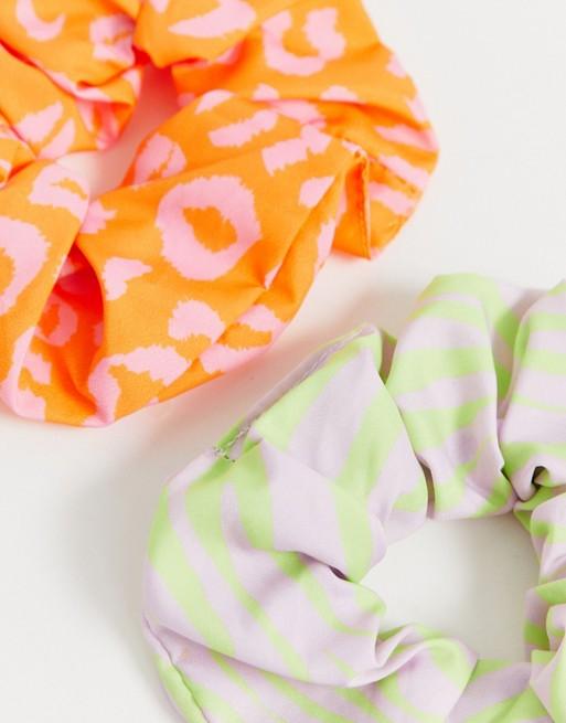Pack de dos coleteros con estampado animal de colores neón