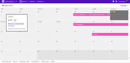 Calendario Microsoft Live, meteo