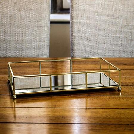 Bandeja dorada con espejo | Bandeja de tocador | Almacenamiento Decorativo | Espejo de joyería y organizador de maquillaje | Vanity Tray | M&W