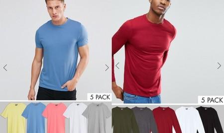 Asos nos ofrece packs de 5 camisetas para hombre en varios colores desde 15,49 euros