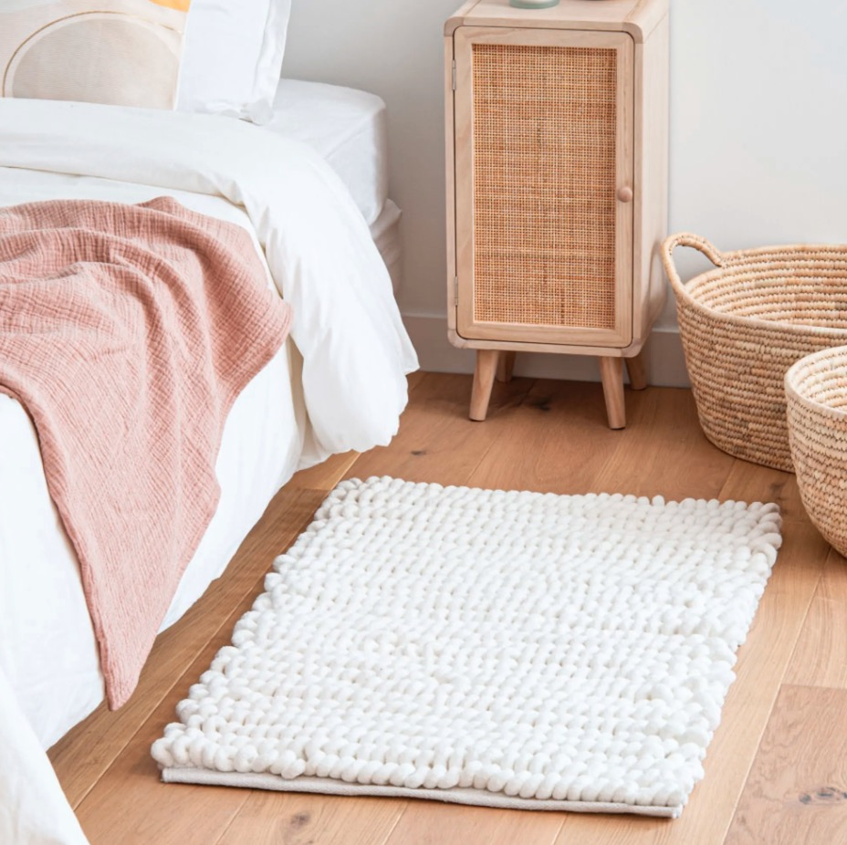 Alfombra de algodón blanco 60x90