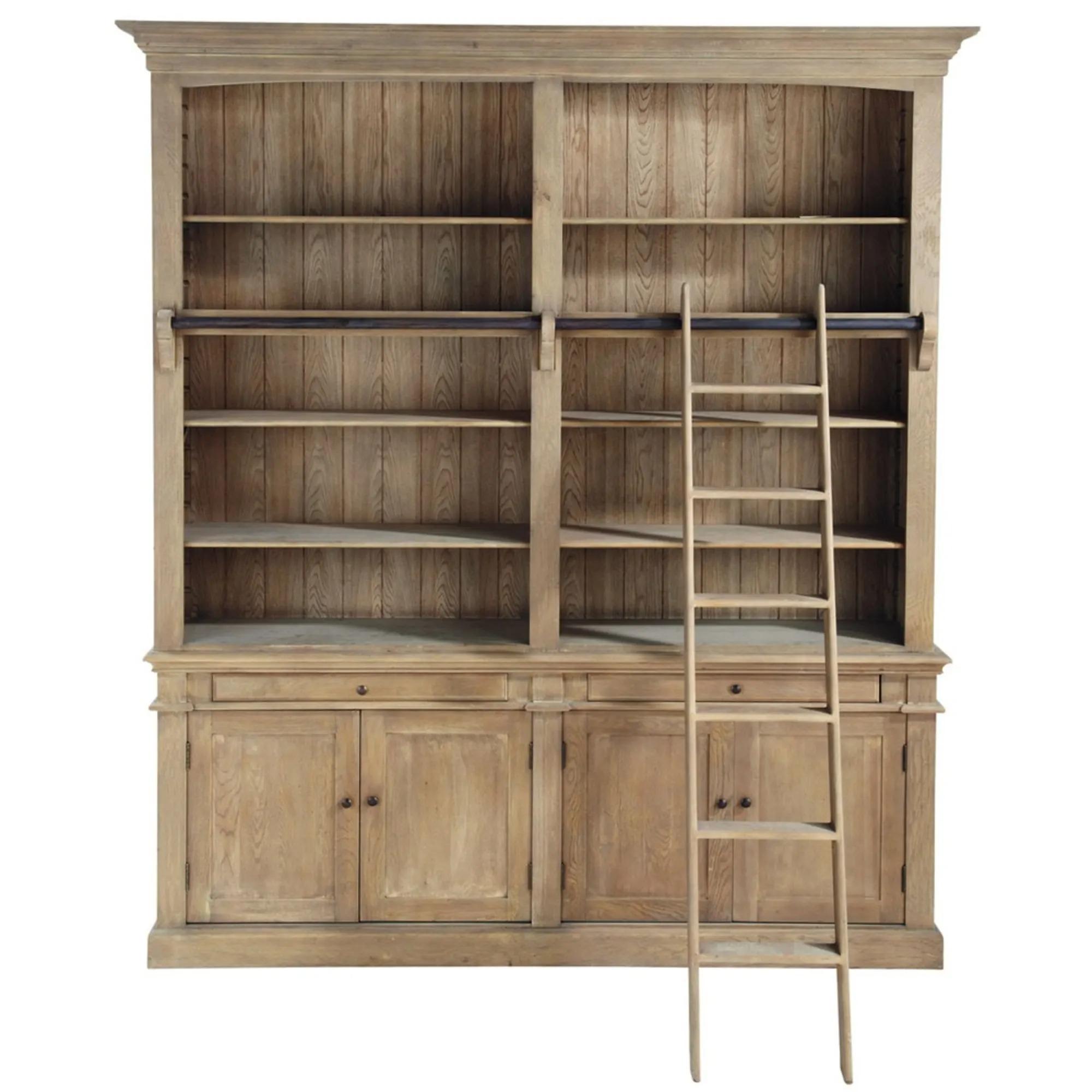 ARISTOTE.- Librería con 2 cajones, 4 puertas y escalera de pino reciclado