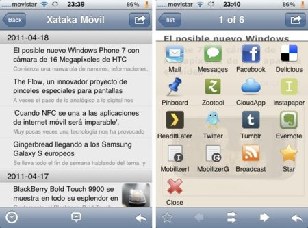 yReader, nuevo lector de feeds para iPhone sincronizado con Google Reader