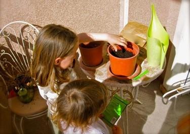 Plantando flores para mamá