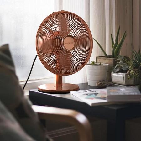Brandson Ventilador De Sobremesa Retro Copperline Ventilador Con 3 Niveles De Velocidad Oscilacion Ajustable A 80 Grado