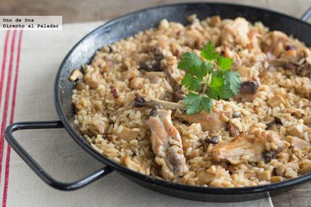 Arroz con conejo, pollo y verduras. Receta