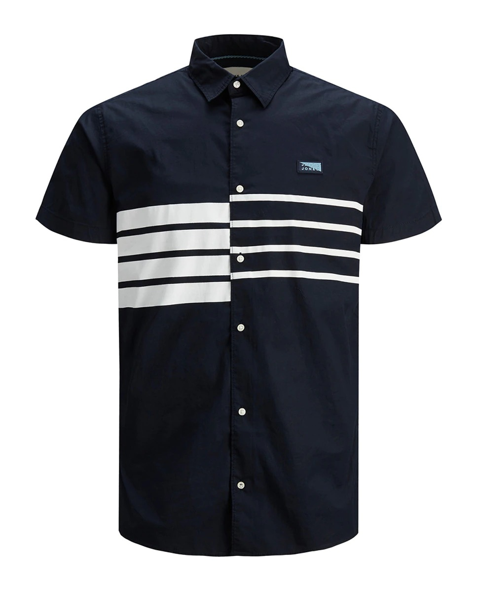 Camisa de hombre con algodón BCI slim de rayas azul