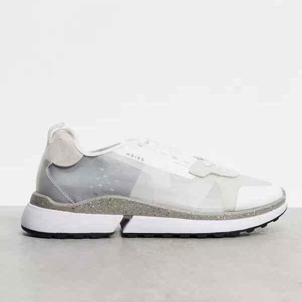 Zapatillas para correr de cuero blanco y malla Ethan de Reiss