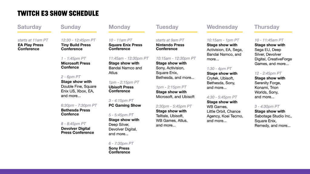 E3 2018 Horarios