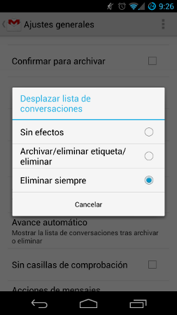 Eliminar correos notificaciones GMail Android