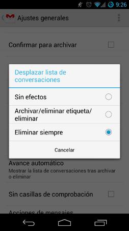 Eliminar correos notificaciones GMail Android