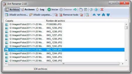 Lista de archivos de Ant Renamer