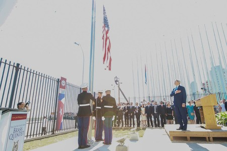 Secretary Kerry Watches As American Flag Is Raised For First Time In 54 Years At Newly Re Opened U S Embassy Havana 19953612784