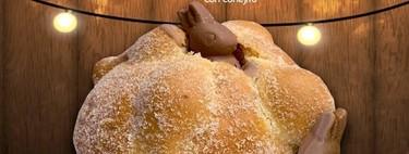 Ya casi salen a la venta estos panes de muerto con conejitos de chocolate