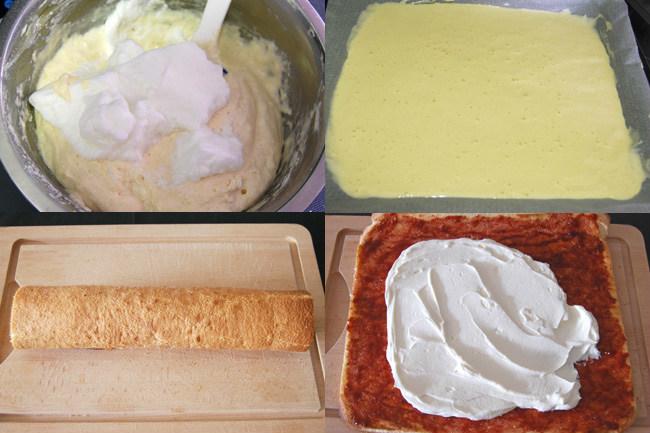 Bizcocho enrollado de mermelada y nata sin lactosa. Pasos