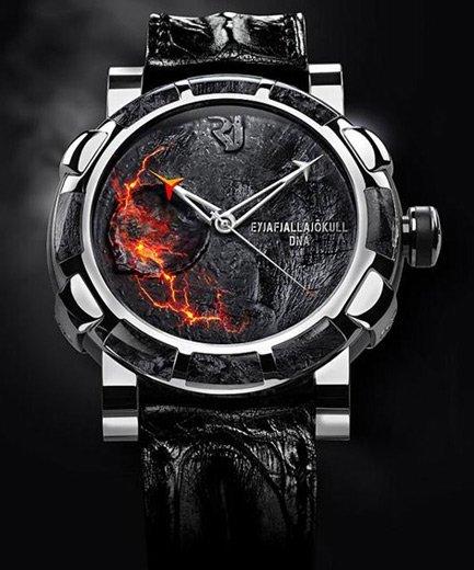 Un reloj realizado con rocas y cenizas del volcán Eyjafjallajökull