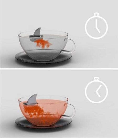 Shark Tea: infusor de té con forma de aleta de tiburón