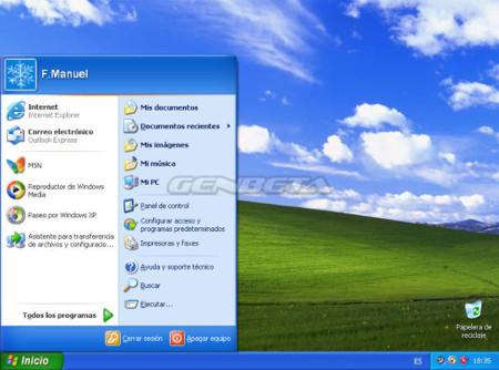 Menú de inicio de Windows XP