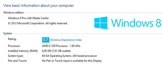 Indice Experiencia de Windows