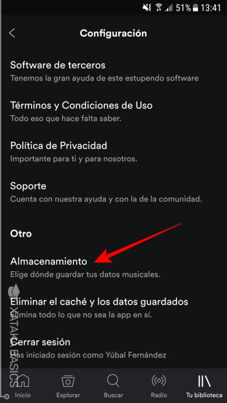 Configurar Almacenamiento En Spotify