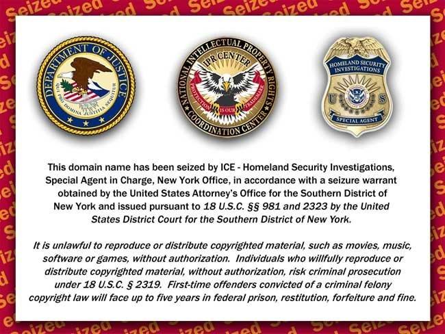 Mensaje que aparece en Roja Directa org tras ser su dominio apropiado por Homeland Security