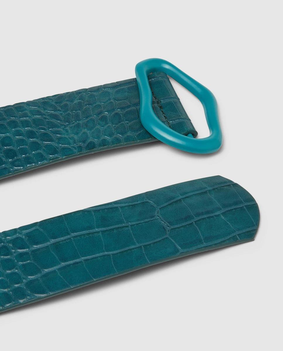 Cinturón de mujer Jo & Mr. Joe efecto piel coco en azul petróleo