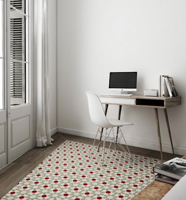 Peque o y acogedor apartamento en blanco de madera y - Baldosa hidraulica barcelona ...