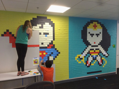 Office Wall Post It Art Superheroes Ben Brucker 9