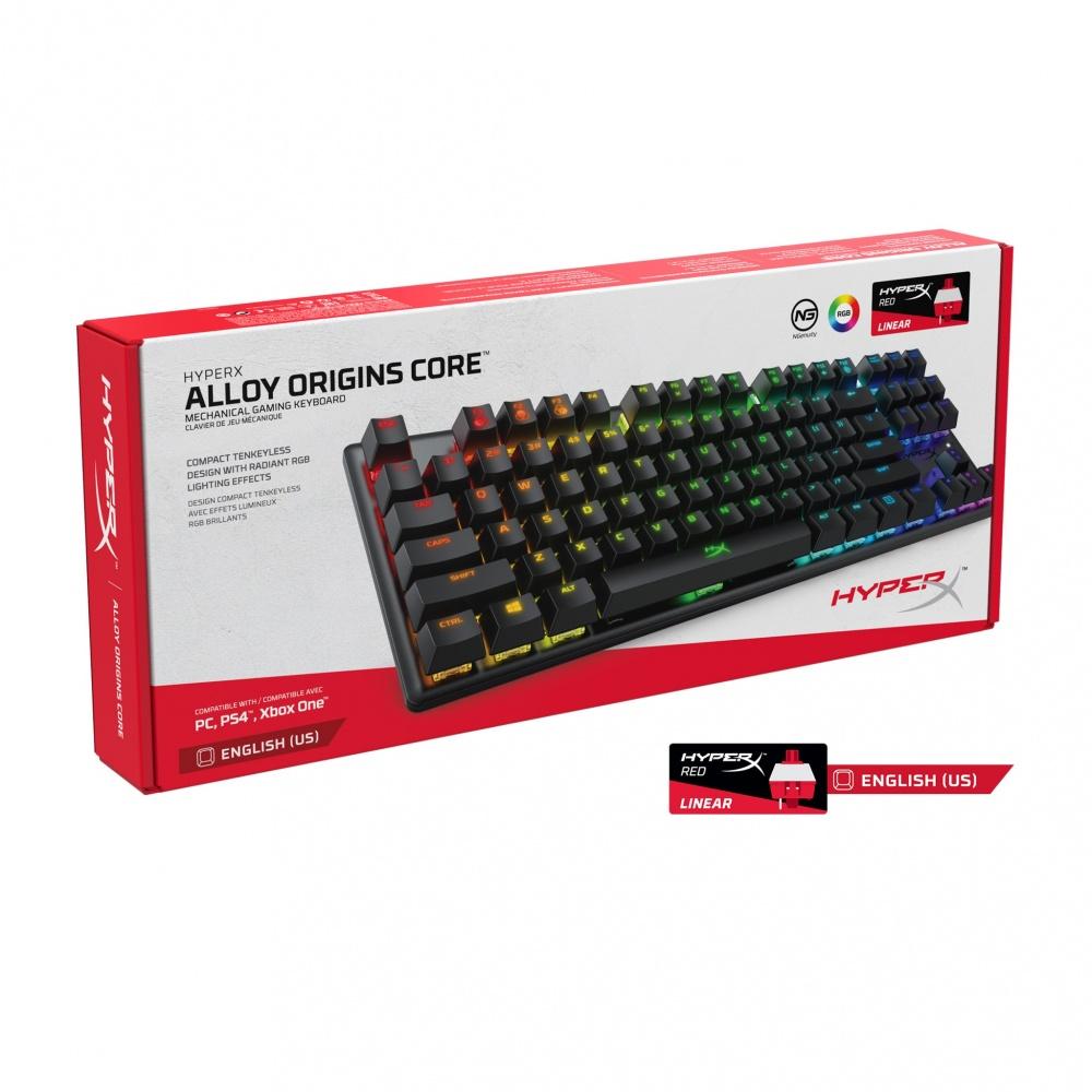 Teclado mecánico en inglés HyperX Alloy Origins Core - Interruptores mecánicos HyperX RED con cuerpo de aluminio e iluminación RGB