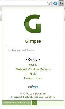 Glimpse - aspecto del navegador y detalle de la G de acceso
