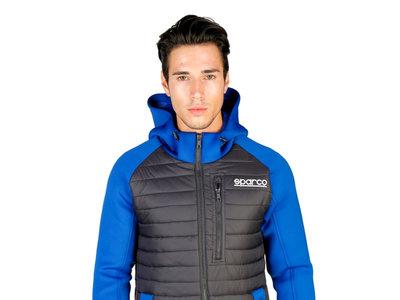 Chaqueta con capucha Boost en negro y azul de Sparco por 66,95€ y envío gratuito