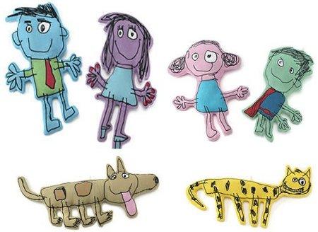 Una familia de peluches imaginados por niños