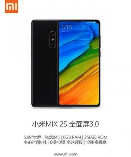 Algunas especificaciones adicionales del supuesto Xiaomi Mi Mix 2s