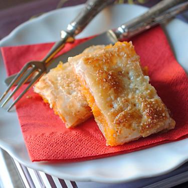 Bocaditos de hojaldre y dulce de boniato al agua de azahar, receta dulce para la sobremesa