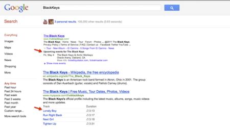 Google muestra conciertos y canciones en las búsquedas de músicos