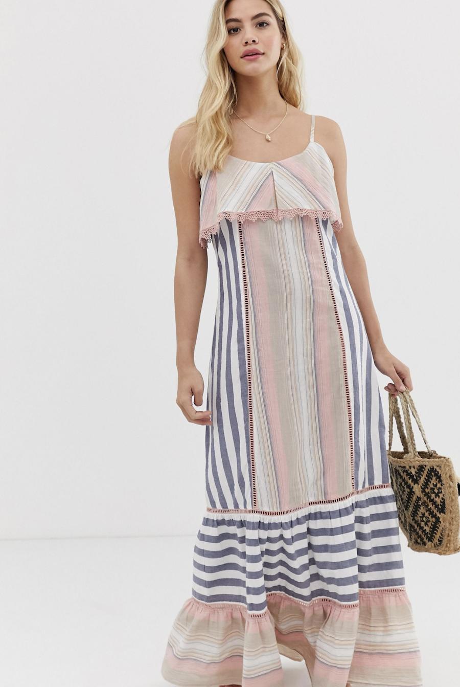 Vestido largo de playa con estampado de rayas de America & Beyond