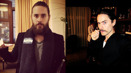 Jared Leto con barba y bigote.