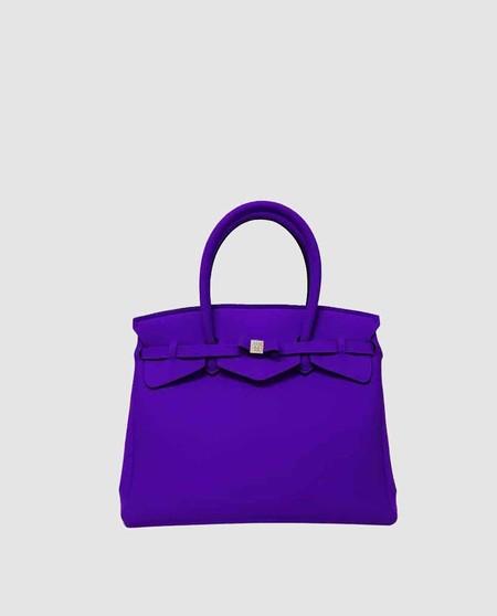 Bolso de mano mediano Save My Bag Miss liso en morado con aplique grabado